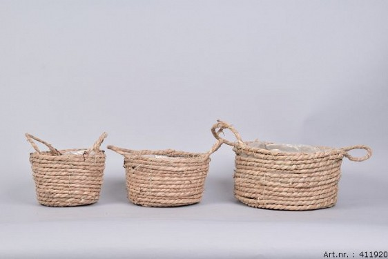 SEAGRASS BASKET NATURAL 25X12CM 3-PIECES
