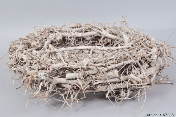RATTAN WREATH WHITEWASH 50X11CM