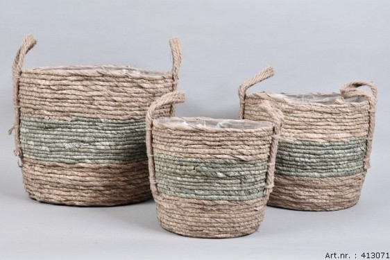 SEAWEED BASKET STRIPED GREEN SPHERE SHADED 33X26CM 3-PIECES