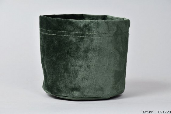 VELVET PLANTBAG DARK GREEN 14X15CM