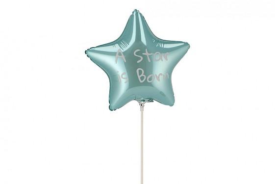 BIJSTEKER BALLON STAR IS BORN LICHTBLAUW 24X12X60CM