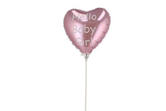 BIJSTEKER BALLON HELLO BABY GIRL 18X11X55CM