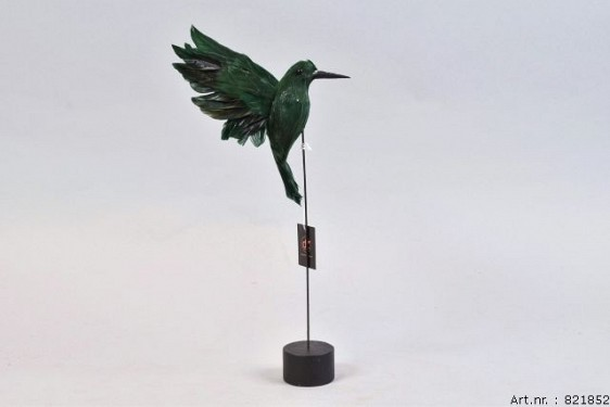 FEATHER HUMMINGBIRD ON FOOT GREEN P/1