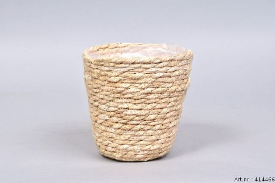 SEAGRASS STRAW NATURAL POT BASKET 14X14CM