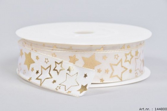STARS RIBBON CREAM/GOLD 2.5CM A 25 METER