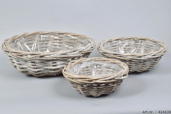RATTAN BOWL GREY WHITEWASH ROUND 45X15CM 3-PIECES