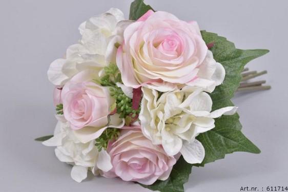 SILK ROSE+HYDRANGEA BOUQUET PINK L31CM