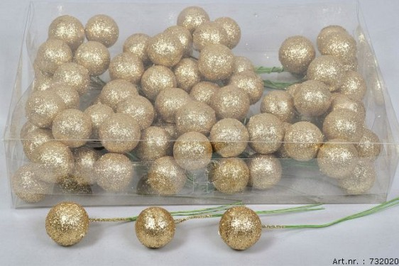 GLITTERBALL ON WIRE GOLD 30MM SET OF 80