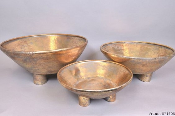 DHAKA GOLD BOWL ON FOOT 59X27CM 3-PIECES