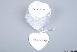 HEART HANGER 'BETERSCHAP'  9X9X0,3CM SET OF 24