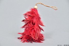 FEATHER TREE RED 8X10CM