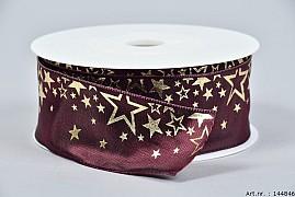 RIBBON STARS BORDEAUX/GOLD 4CM X 25 METER