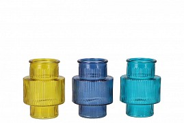 DIAMOND CLEAR GLASS BOTTLE SPHERE SHADED 9X9CM