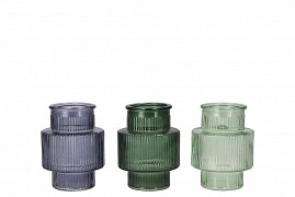 DIAMOND GREEN MIX GLASS BOTTLE SPHERE SHADED 8X8CM ASSORTED A PIECE