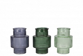DIAMOND GREEN MIX GLASS BOTTLE SPHERE SHADED 9X9CM ASSORTED A PIECE