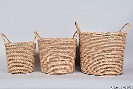 SEAGRASS BASKET NATURAL 30X26CM 3-PIECES