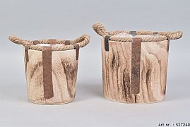 PAULOWNIA WOODEN POT 21X20CM 2-PIECES