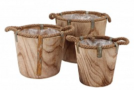 PAULOWNIA WOODEN POT 29X24CM 3-PIECES