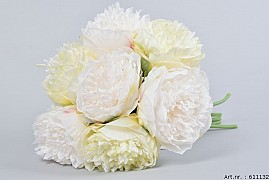 SILK PEONY BOUQUET 7-BRANCHES WHITE/GREEN 32CM