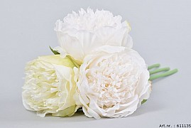SILK PEONY BOUQUET 3-BRANCHES WHITE/GREEN 32CM