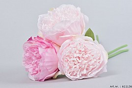 SILK PEONY BOUQUET 3-BRANCHES PINK/LIGHT PINK 32CM