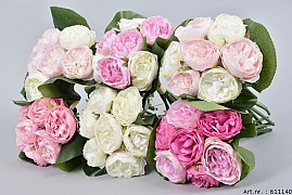 SILK PEONY BOUQUET 7-BRANCHES GREEN/PINK/WHITE ASSORTED 24CM A BUNCH