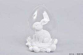 GLASS BALL RABBIT WHITE 8X12CM
