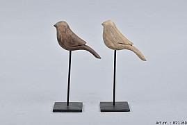 WOODEN BIRD ON FOOT 7X20CM