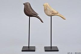 WOODEN BIRD ON FOOT 7X23CM ASSORTED A PIECE