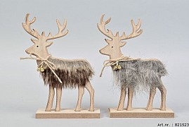 FUR REINDEER 17X4X24CM ASSORTED A PIECE