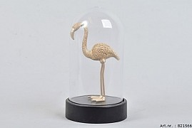 GOLD FLAMINGO IN GLASS BELL 11.5X20CM