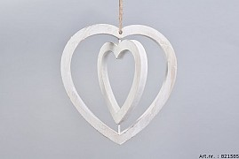 WOODEN DOUBLE HEART WHITE 30X29X2CM