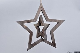 WOODEN DOUBLE STAR NATURAL 40X2CM