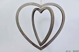 WOODEN DOUBLE HEART NATURAL 50X50X2CM