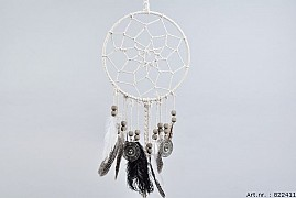 WHITE DREAMCATCHER + BLACK/WHITE FEATHERS + COINS 25X60CM