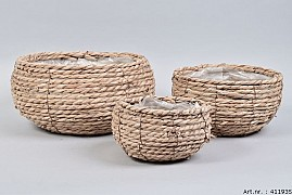 SEAGRASS BASKET NATURAL SPHERE SHADED 29X15CM 3-PIECES