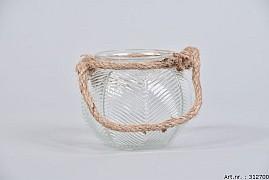 LEAF GLASS CLEAR + ROPE 10X8CM