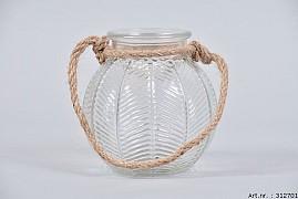 LEAF GLASS CLEAR + ROPE 12X12CM