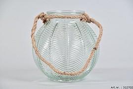 LEAF GLASS CLEAR + ROPE 15X15CM