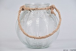 LEAF GLASS CLEAR + ROPE 17X16CM