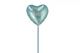 BIJSTEKER BALLON HELLO BABY BOY 18X11X55CM