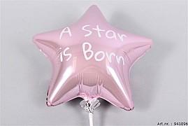 BIJSTEKER BALLON STAR IS BORN LICHTROZE 24X12X60CM