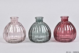 DIAMOND BERRY MIX GLASS BOTTLE SPHERE SHADED 9X9CM ASSORTED A PIECE