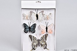 STICK-INS BUTTERFLY ON CLIP COLOR MIX A 6 PIECES