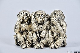 DECO MONKEYS HEAR NO EVIL/SEE NO EVIL/SPEAK NO EVIL 11X6X8,5CM