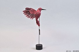 FEATHER HUMMINGBIRD ON FOOT PINK P/1