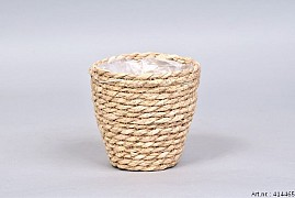 SEAGRASS STRAW NATURAL POT BASKET 12X12CM