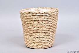 SEAGRASS STRAW NATURAL POT BASKET 20X20CM