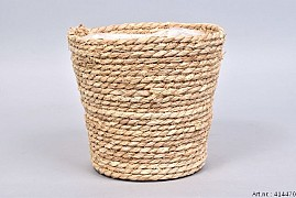 SEAGRASS STRAW NATURAL POT BASKET 22X22CM