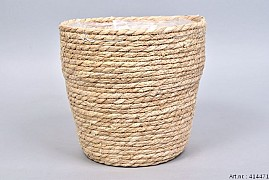 SEAGRASS STRAW NATURAL POT BASKET 24X24CM